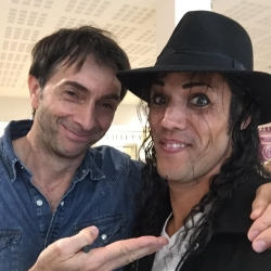 Avec le comédien Alexis Desseaux